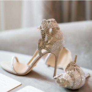 FSJ Champagne Rhinestone Stiletto Heel Sandals